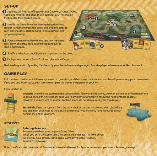 Game Drive rules - setup page