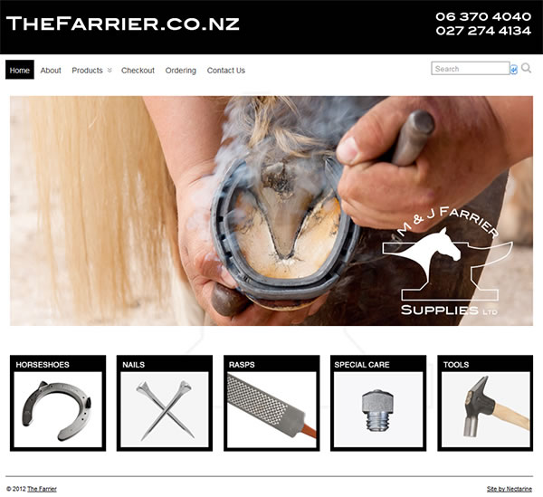 The Farrier - www.thefarrier.co.nz - Nectarine website portfolio