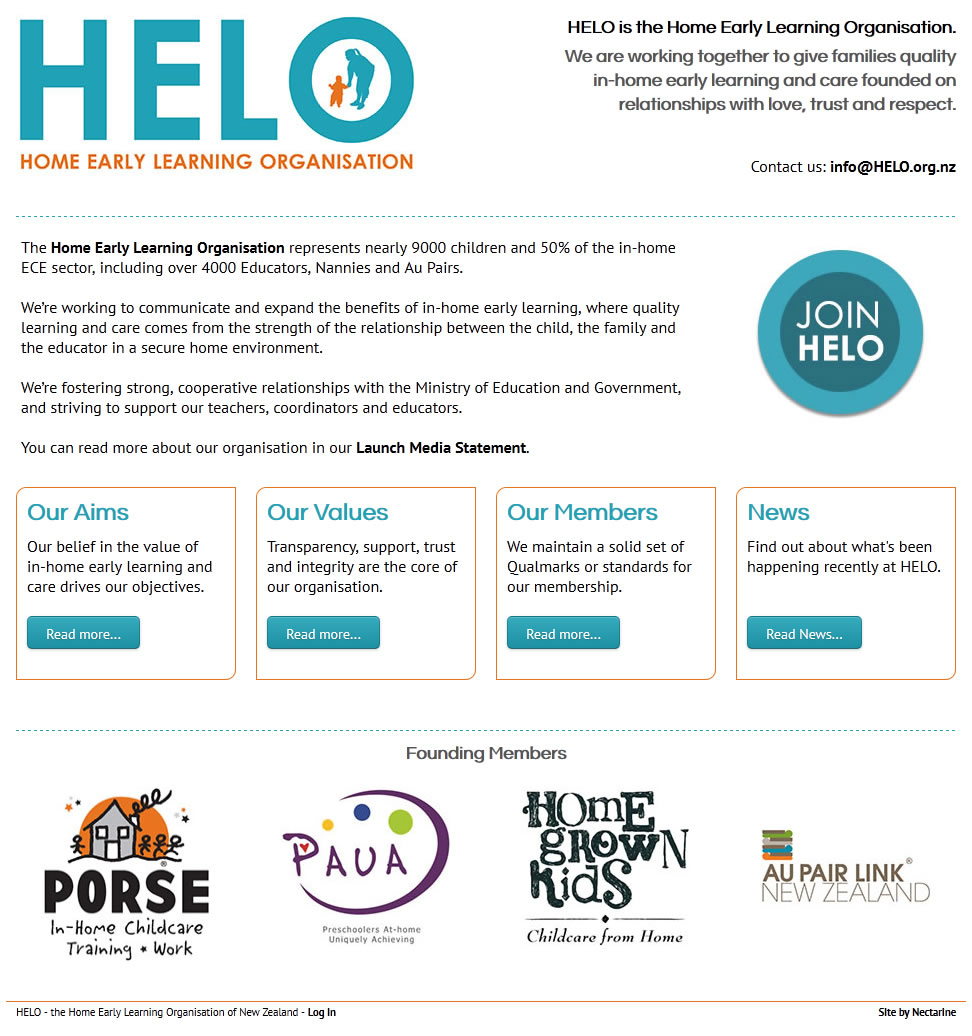 HELO helo.org.nz - Nectarine NZ Website Portfolio