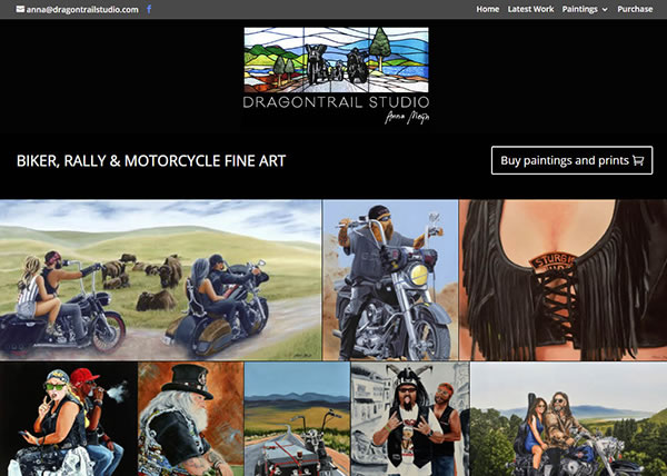 Dragontrail Studio Biker Paintings Nectarine Website Portfolio F