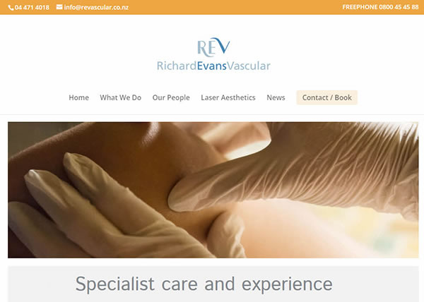 Richard Evans Vascular REV Home Nectarine Website Portfolio F